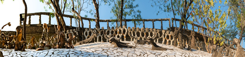 Panoramic view of The Rock Garden.<br /> <br /> The Rock Garden of Chandigarh (also known as Nek Chand's Rock Garden after its founder) is a sculpture garden in Chandigarh, India. Nek Chand was a government official who started the garden secretly in his spare time in 1957. Today it is spread over an area of 40 acres and is completely built of industrial and home waste and thrown-away items. The Rock Garden, is one of the most famous sites in India. Nek Chand, the creator of this place, died in 2015 but his site is visited by millions of people every year.