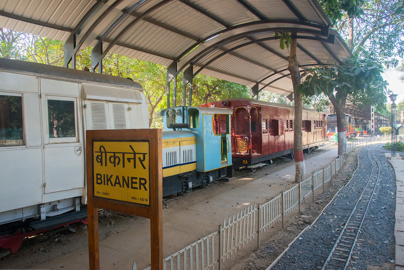 Bikaner station at The National Rail Museum in Chanakyapuri, New Delhi which focuses on the rail heritage of India. Outdoor and indoor exhibit of the 163 years of rich Indian Railway's historic heritage. Rare steam, diesel and electric locos, royal saloons and lots of artifacts can be seen.