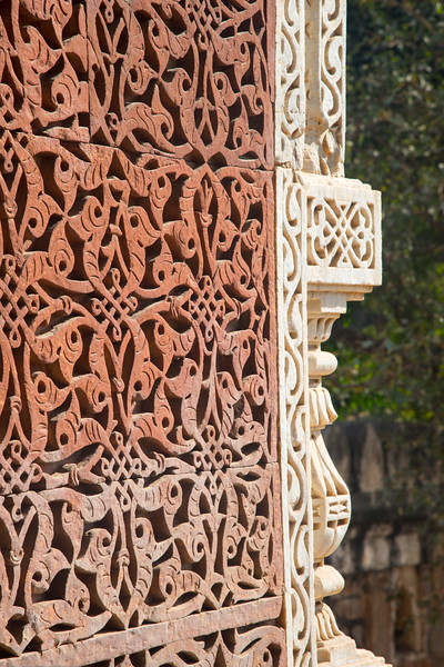 Work done on The Alai Darwaza, Qutub Complex, which is the main gateway from southern side of the Quwwat-ul-Islam Mosque. It was built by the second Khalji Sultan of Delhi, Alauddin Khalji in 1311 AD. Qutb complex is an UNESCO World Heritage Site in the Mehrauli, Delhi, India. Structures are made of red sandstone and marble.