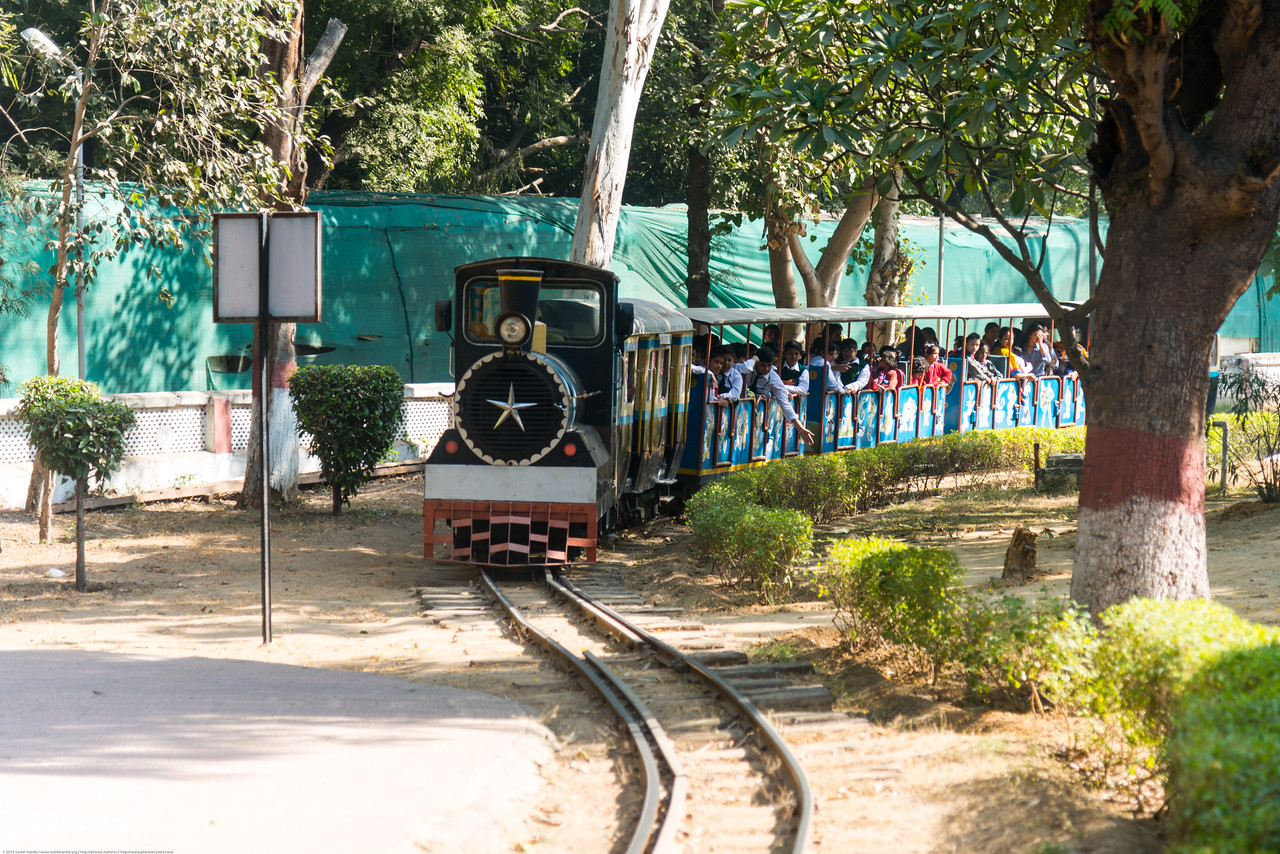 Mini train that takes visitors on a tour around the museum. The National Rail Museum is a museum in Chanakyapuri, New Delhi which focuses on the rail heritage of India. Outdoor and indoor exhibit of the 163 years of rich Indian Railway's historic heritage. Rare steam, diesel and electric locos, royal saloons and lots of artifacts can be seen.