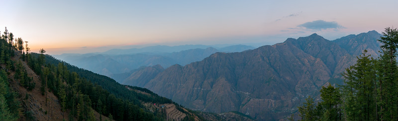 Panoramic view of the Himalayas at Naldehra, Himachal Pradesh (HP), India, situated near (18 km) but still away from Shimla buzz and chaos. One can sense the calmness and purity of the Himalayas in the air retaining Himachal's unspoiled charm, the picturesque beauty.