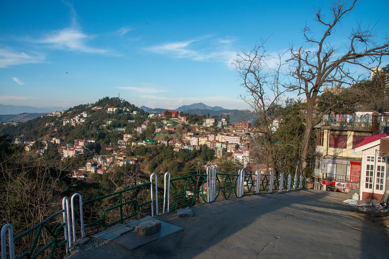 Sloping steep roads of Shimla, Himachal Pradesh, India.