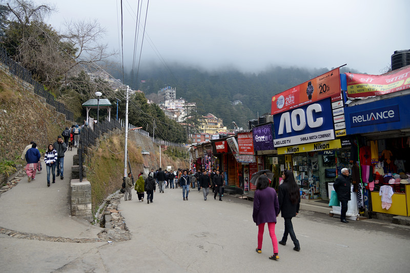 The Mall Road, Shimla.<br /> Shimla is the capital city of the Indian state of Himachal Pradesh, located in northern India at an elevation of 7,200 ft. Due to its weather and view it attracts many tourists. It is also the former capital of the British Raj.