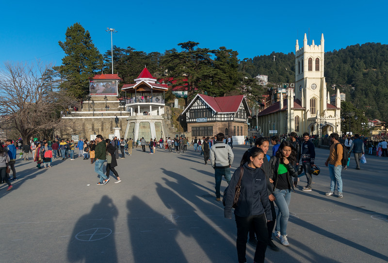 Visitors at the Mall Road, Shimla, Himachal Pradesh, India.