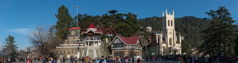 Panoramic view of the Mall Road, Shimla with the flow of tourists and locals at Christ Church & Himachal Pradesh State Library. Himachal Pradesh, India.