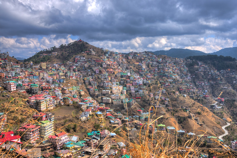 View of Mashobra/Shimla.<br /> Shimla is the capital city of the Indian state of Himachal Pradesh, located in northern India at an elevation of 7,200 ft. Due to its weather and view it attracts many tourists. It is also the former capital of the British Raj.