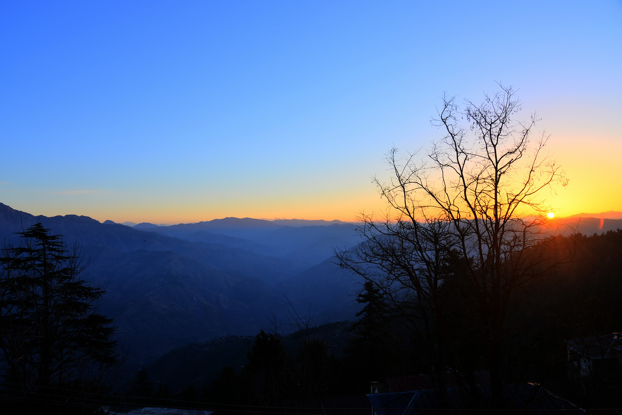 Early morning sunrise at Club Mahindra, Mashobra resort. Shimla is the capital city of the Indian state of Himachal Pradesh, located in northern India at an elevation of 7,200 ft.