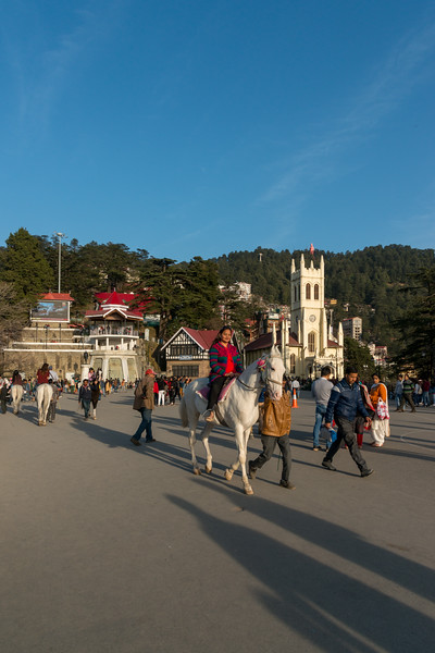 Horse ride at the Mall Road, Shimla, Himachal Pradesh, India.