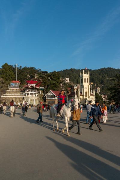 Horse ride at the Mall Road, Shimla, Himachal Pradesh, India.