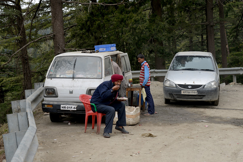 Street food on the winding roads. Shimla is the capital city of the Indian state of Himachal Pradesh, located in northern India at an elevation of 7,200 ft. Due to its weather and view it attracts many tourists. It is also the former capital of the British Raj.