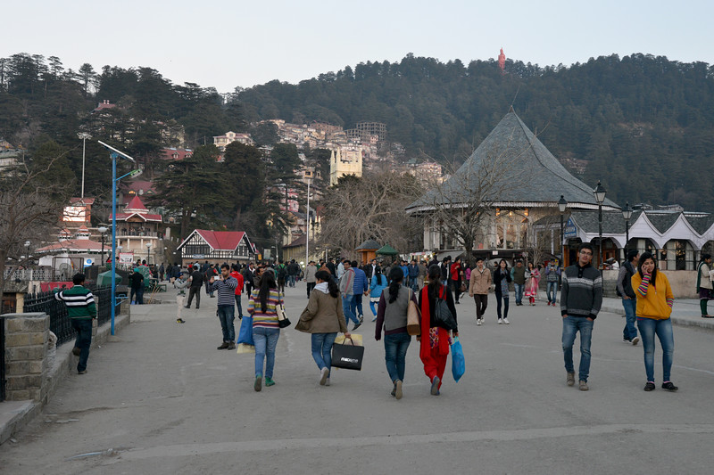 Visitors at The Mall Road. Shimla is the capital city of the Indian state of Himachal Pradesh, located in northern India at an elevation of 7,200 ft. Due to its weather and view it attracts many tourists. It is also the former capital of the British Raj.