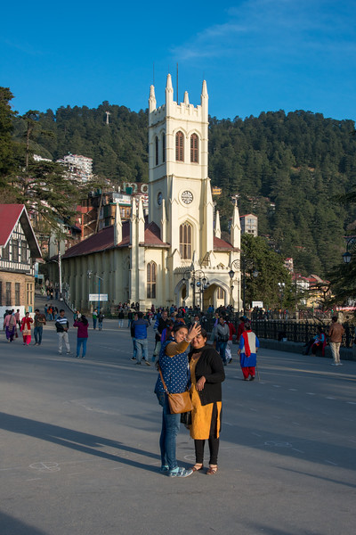 Selfie at Shimla Christ Church which is one of the most identified and photographed structures in Shimla. Located at the Mall Road, Shimla, Himachal Pradesh, India. Christ Church, Shimla, is the second oldest church in North India, after St John's Church in Meerut. It is a parish in the Diocese of Amritsar in the Church of North India.