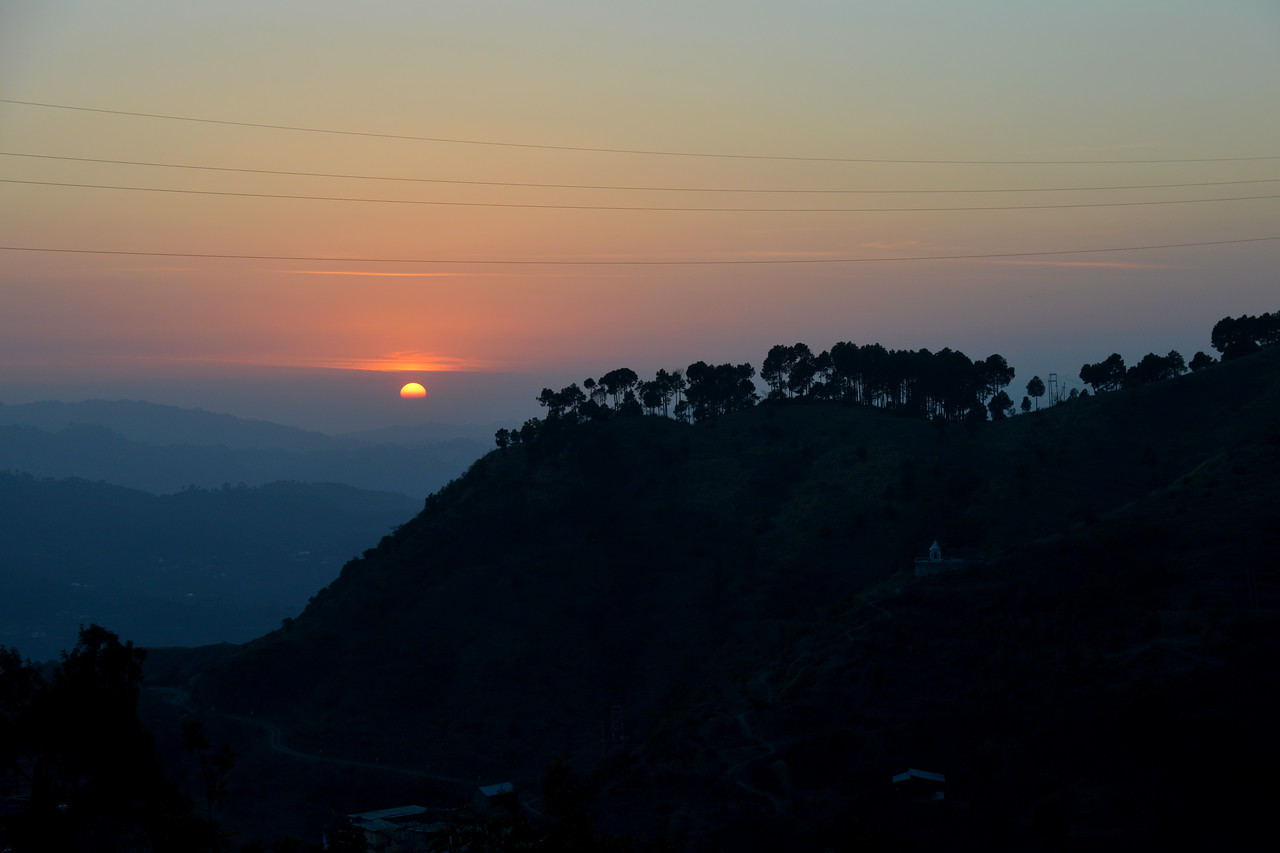 Sunset at Club Mahindra, Kandaghat. Kandaghat is a small town on the Kalka-Shimla National Highway No. 22 in the Solan district of the state of Himachal Pradesh, India. It is about 90kms from Chandigarh (airport).