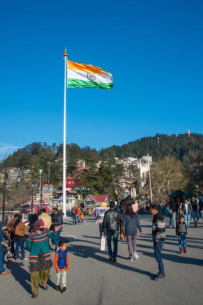 Indian flag flying high at the Mall Road, Shimla, Himachal Pradesh, India.
