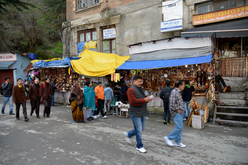 Street shopping at The Mall Road, Shimla.<br /> <br /> Shimla is the capital city of the Indian state of Himachal Pradesh, located in northern India at an elevation of 7,200 ft. Due to its weather and view it attracts many tourists. It is also the former capital of the British Raj.