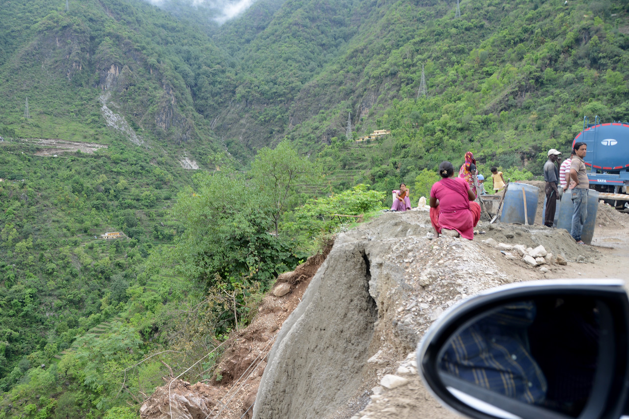 Landslide is quite a common site in the hills. Kanatal to Rishikesh, in Uttaranchal, North India.