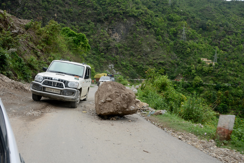 Landslide and rockfall is quite a common site in the hills. Kanatal to Rishikesh, in Uttaranchal, North India.