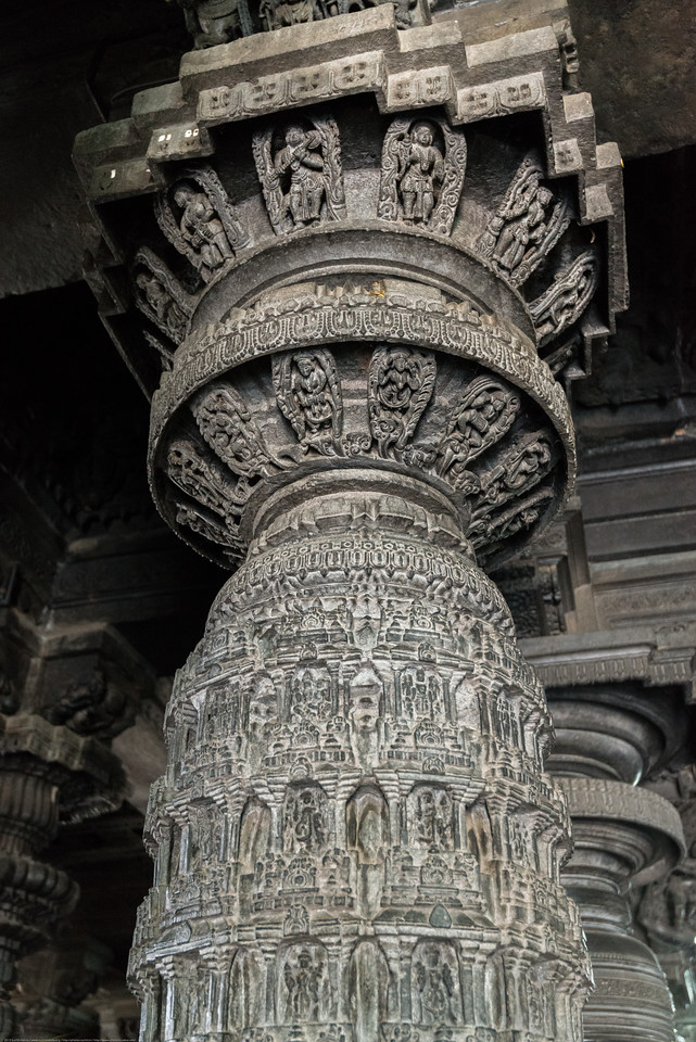 Very detailed stone carvings at the Channakesava Temple. The Channakesava Temple, Belur, Karnataka. Originally called Vijayanarayana Temple, it was built on the banks of the Yagachi River in Belur, Hassan district by the Hoysala Empire King Vishnuvardhana.<br /> <br /> Channakesava is a form of the Hindu god Vishnu. Belur is famous for its marvelous temples and have been proposed to be listed under UNESCO World Heritage Sites.