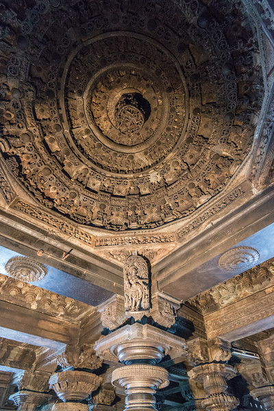 With lights projected onto the ceiling the beautiful ceiling gets visible at the Channakesava Temple. The Channakesava Temple, Belur, Karnataka. Originally called Vijayanarayana Temple, it was built on the banks of the Yagachi River in Belur, Hassan district by the Hoysala Empire King Vishnuvardhana.<br /> <br /> Channakesava is a form of the Hindu god Vishnu. Belur is famous for its marvelous temples and have been proposed to be listed under UNESCO World Heritage Sites.