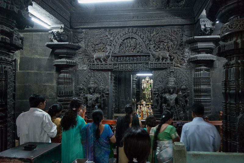 Prayers being offered to Lord Vishnu at the Channakesava Temple. The Channakesava Temple, Belur, Karnataka. Originally called Vijayanarayana Temple, it was built on the banks of the Yagachi River in Belur, Hassan district by the Hoysala Empire King Vishnuvardhana.<br /> <br /> Channakesava is a form of the Hindu god Vishnu. Belur is famous for its marvelous temples and have been proposed to be listed under UNESCO World Heritage Sites.