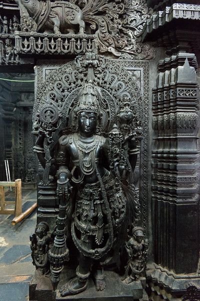 Beautifully carved statues at the temple. The Channakesava Temple, Belur, Karnataka. Originally called Vijayanarayana Temple, it was built on the banks of the Yagachi River in Belur, Hassan district by the Hoysala Empire King Vishnuvardhana.<br /> <br /> Channakesava is a form of the Hindu god Vishnu. Belur is famous for its marvelous temples and have been proposed to be listed under UNESCO World Heritage Sites.