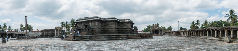 Panoramic view of the Channakesava Temple. The Channakesava Temple, Belur, Karnataka. Originally called Vijayanarayana Temple, it was built on the banks of the Yagachi River in Belur, Hassan district by the Hoysala Empire King Vishnuvardhana.<br /> <br /> Channakesava is a form of the Hindu god Vishnu. Belur is famous for its marvelous temples and have been proposed to be listed under UNESCO World Heritage Sites.