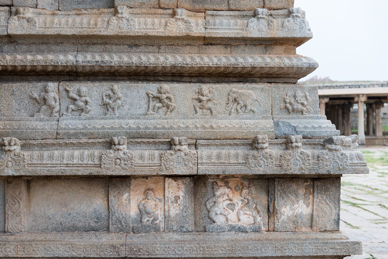 Vittala Temple stone carvings. Vittala Temple is the most extravagant architectural showpiece of Hampi. The temple is built in the form of a sprawling campus with compound wall and gateway towers. There are many halls, pavilions and temples located inside this campus. Vittala, after whom the temple is known, is a form of Lord Vishnu.