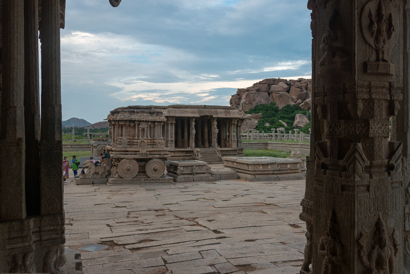 Vittala Temple is the most extravagant architectural showpiece of Hampi. The temple is built in the form of a sprawling campus with compound wall and gateway towers. There are many halls, pavilions and temples located inside this campus. <br /> Vittala, after whom the temple is known, is a form of Lord Vishnu. The temple was originally built in the 15th century AD. Many successive kings have enhanced the temple campus during their regimes to the present form. Hampi, Karnataka.