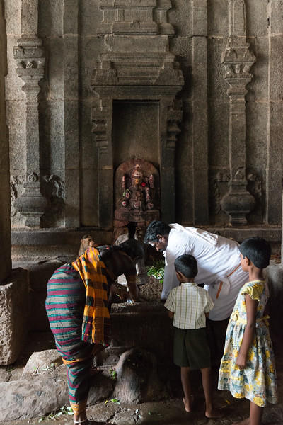 Prayers being offered at the Virupaksha temple which  is the oldest and the principal Lord Shiva temple in Hampi.