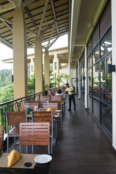 Restaurant with a view at Club Mahindra Virajpet, Coorg-Virajpet quaint retreat in Kodagu Valley.<br /> <br /> Named after the former ruler of Kodagu, Virarajendra, Virajpet is an abbreviation for Virarajendrapete. Virajpet is a small town known for the local coffee and spice crops. Virajpet. This is a large and beautiful resort surrounded by nature.