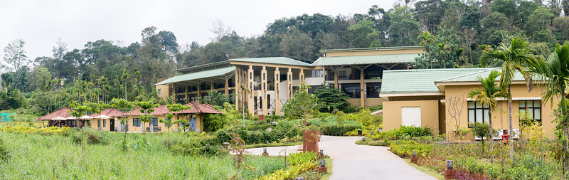 Panoramic view of Club Mahindra Virajpet, Coorg-Virajpet quaint retreat in Kodagu Valley.<br /> <br /> Named after the former ruler of Kodagu, Virarajendra, Virajpet is an abbreviation for Virarajendrapete. Virajpet is a small town known for the local coffee and spice crops. Virajpet. This is a large and beautiful resort surrounded by nature.
