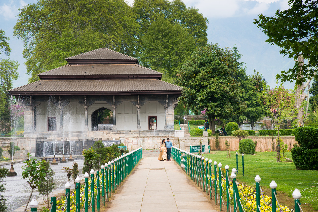 Many visitors to Shalimar Bagh (Hindi: शालीमार बाग़; Urdu: شالیمار باغ) is a Mughal garden in Srinagar, Kashmir linked via a channel to Dal Lake. The public park, Shalimar Garden, was built by Mughal Emperor Jahangir for his wife Noor Jahan, in 1619.