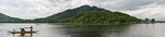 Panoramic view of Dal Lake from the floating house boats. Srinagar, Jammu and Kashmir, India.  They are usually moored at the edges of the Dal Lake and Nageen lakes. Some were built in the e ...