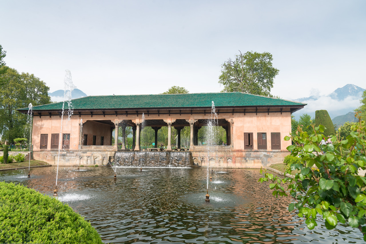 Water fountains at Shalimar Bagh (Hindi: शालीमार बाग़; Urdu: شالیمار باغ) is a Mughal garden in Srinagar, Kashmir linked via a channel to Dal Lake. The public park, Shalimar Garden, was built by Mughal Emperor Jahangir for his wife Noor Jahan, in 1619.