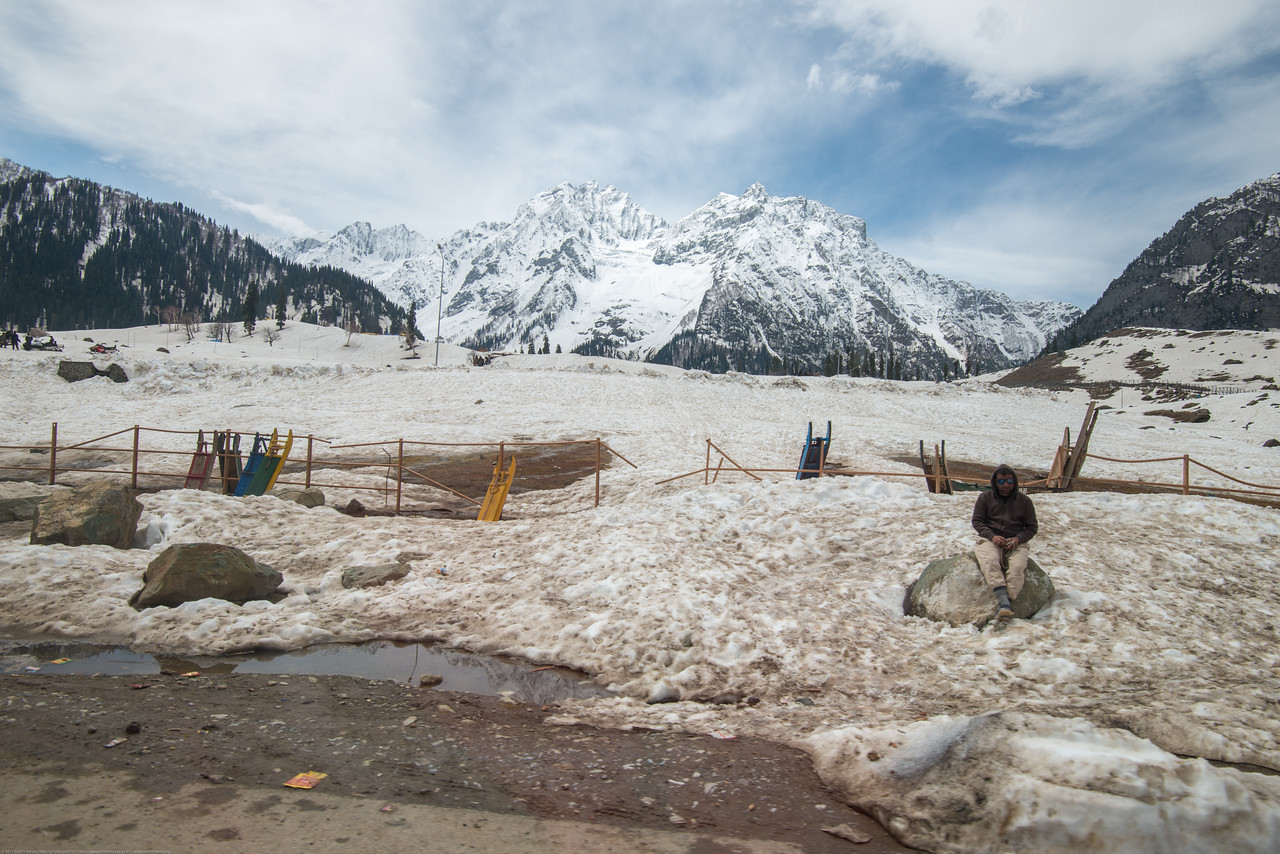 Locals offer sledging as a sport to tourists at Sonamarg on the banks of Sind river, Srinagar - Ladakh Highway, Forest Block, Jammu and Kashmir