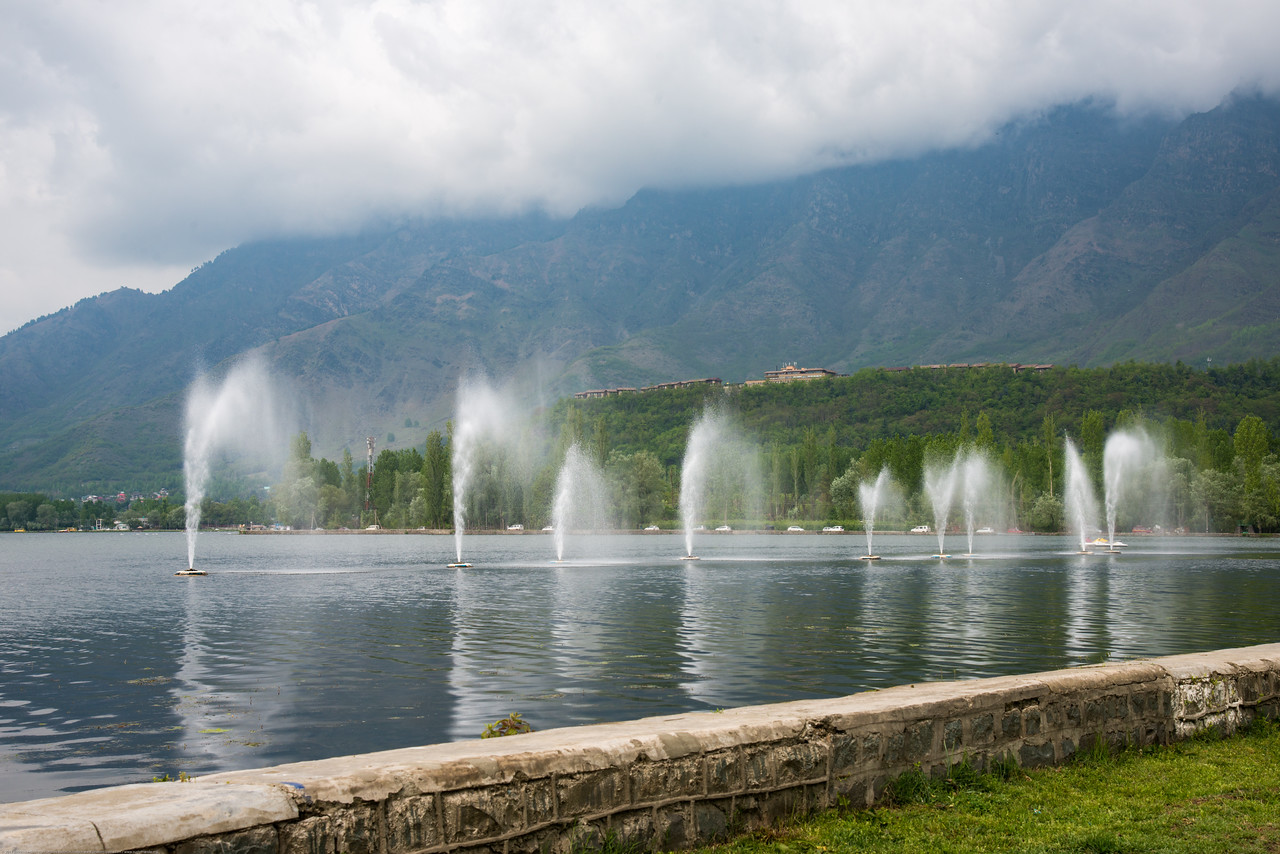 Water fountains on Dal Lake, Jammu and Kashmir, India.