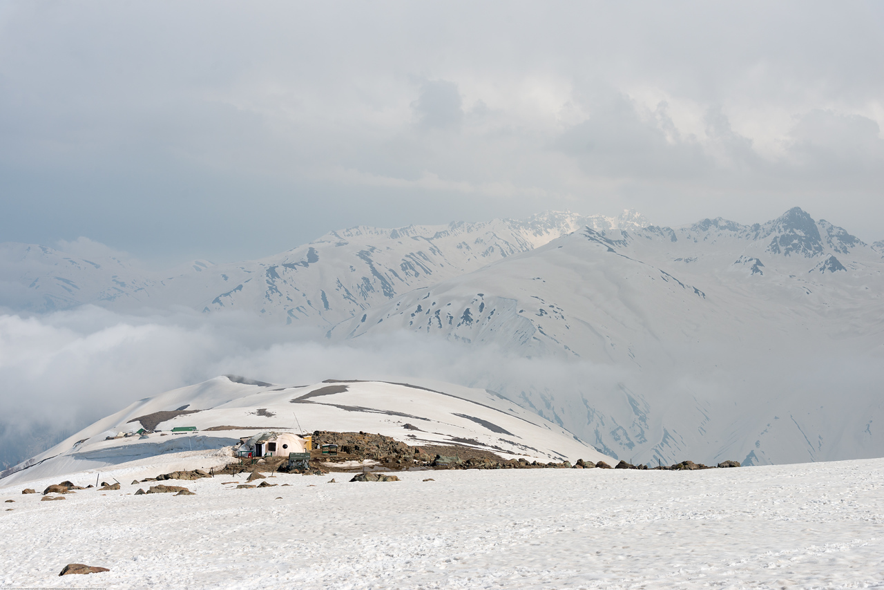 Indian army maintains a position in the snow covered Gulmarg, Kashmir, J&K, India as it is close to the LoC.