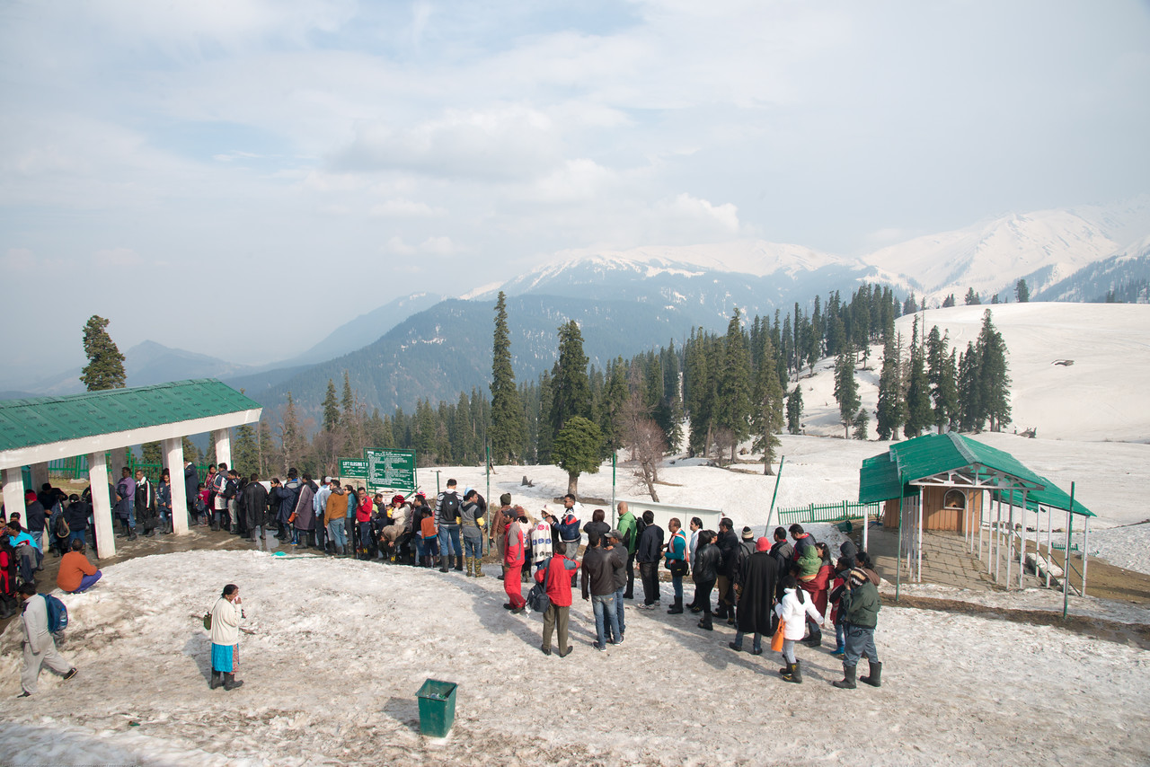 Long queues of tourists at the first level gondola in Gulmarg, Kashmir, J&K, India.