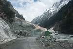 New fiber and electric cables being laid enroute Srinagar to Sonamarg on the Srinagar-Leh Highway, Kashmir, J&K, India.