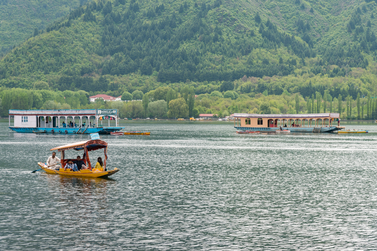 Dal Lake view from the floating house boats on Dal Lake, Srinagar, Jammu and Kashmir, India.<br /> <br /> They are usually moored at the edges of the Dal Lake and Nageen lakes. Some were built in the early 1900s, and are still being rented out to tourists.