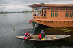 Floating house boats on Dal Lake, Srinagar, Jammu and Kashmir, India. They are usually moored at the edges of the Dal Lake and Nageen lakes. A luxury houseboat, like a luxury hotel, has fine ...