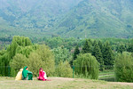 Visitors enjoy the view at the Tulip Garden, Jammu and Kashmir, India. Asia?s Largest, with 20 lakh tulips of 46 varieties spread over 30 hectares in the foothills of the snow-clad Zabarwa ...