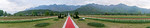 Panoramic view of Tulip Garden, Jammu and Kashmir, India. Asia?s Largest, with 20 lakh tulips of 46 varieties spread over 30 hectares in the foothills of the snow-clad Zabarwan range.