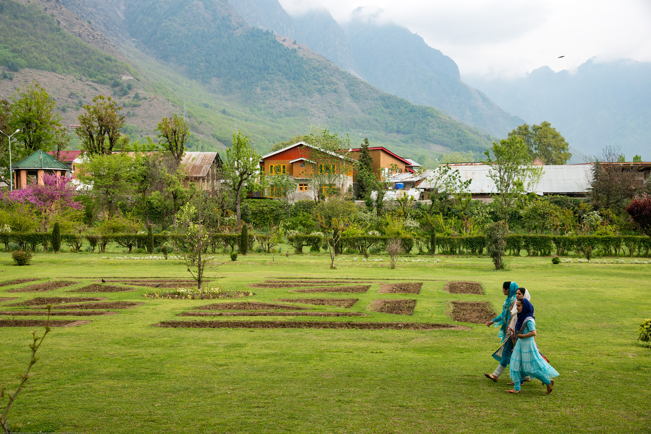 Locals and tourists visit Shalimar Bagh (Hindi: शालीमार बाग़; Urdu: شالیمار باغ) is a Mughal garden in Srinagar, Kashmir linked via a channel to Dal Lake. The public park, Shalimar Garden, was built by Mughal Emperor Jahangir for his wife Noor Jahan, in 1619.