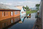 Still waters of Dal Lake seen from thhe floating house boats on Dal Lake, Srinagar, Jammu and Kashmir, India.  They are usually moored at the edges of the Dal Lake and Nageen lakes. Some wer ...