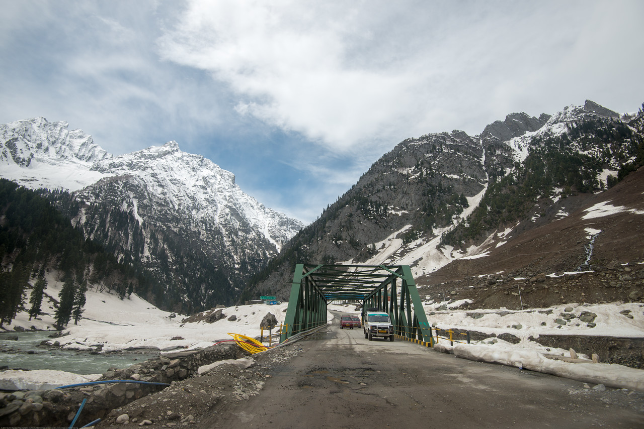 Bridges crossings with telephone, internet fibre and electricity cables being laid on the banks of Sind river, Srinagar - Ladakh Highway, Forest Block, Jammu and Kashmir