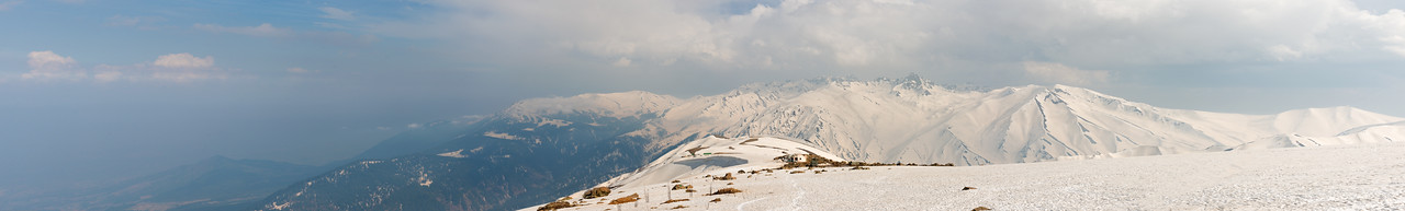 Snow covered panoramic view of Gulmarg, Kashmir, J&K, India.