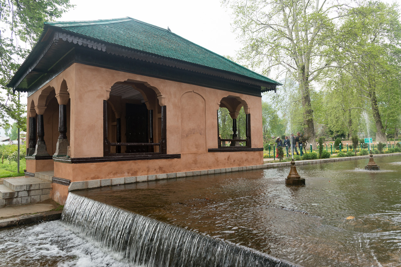 Shalimar Bagh (Hindi: शालीमार बाग़; Urdu: شالیمار باغ) is a Mughal garden in Srinagar, Kashmir linked via a channel to Dal Lake. The public park, Shalimar Garden, was built by Mughal Emperor Jahangir for his wife Noor Jahan, in 1619.