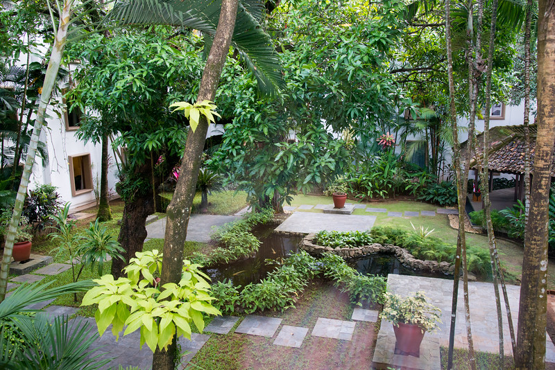 View from the room at Trident Hotel Cochin (ട്രൈഡെൻറ് ഹോട്ടല് കൊച്ചിന്). Built in 1567, located on Willingdon Island and set in a courtyard with landscaped gardens, this bright hotel in a tropical-style building is 6 km from the shops at Mahatma Gandhi Road and 2.6 km from the Paradesi Synagogue. Willingdon Island, Kochi, Kerala.