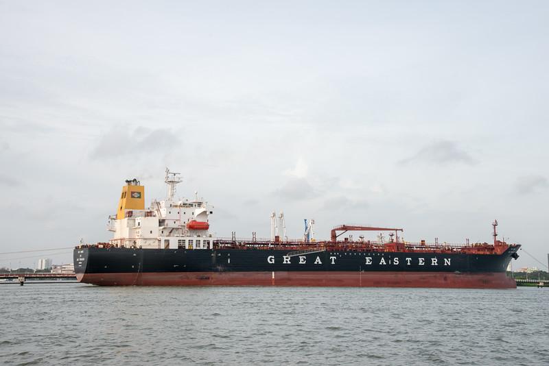 Great Eastern Shipping boat at Vembanad Lake, Kochi, Kerala, India.